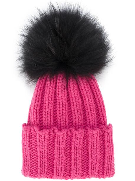 Inverni Pink Ribbed Cashmere Hat with Fur Pom Pom - Pink & Purple