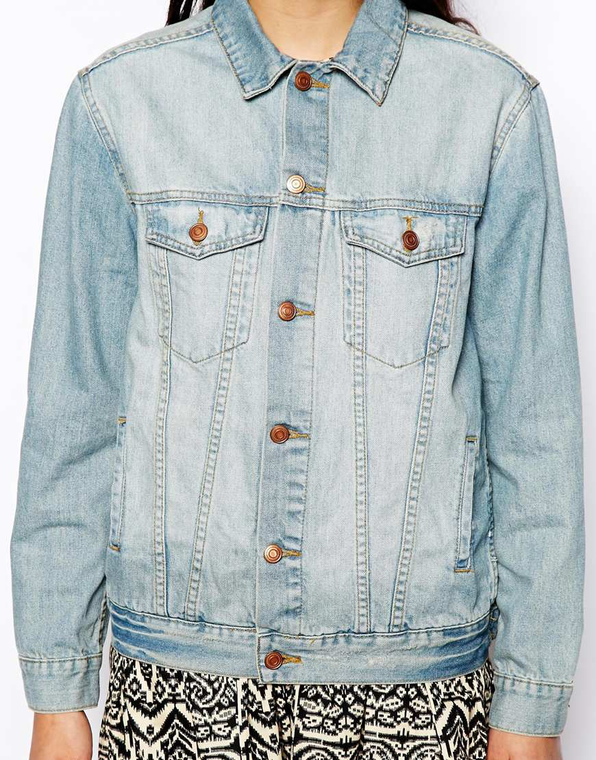 ASOS Denim Jacket in Oversized Boyfriend Fit in Vintage Wash at asos.com