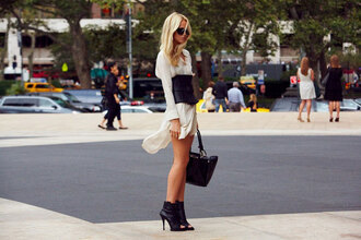 belt corset belt dress white dress shirt dress asymmetrical asymmetrical dress boots black boots ankle boots peep toe heels peep toe boots bag black bag spring outfits streetstyle