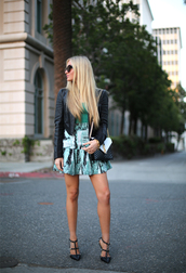 angel food,t-shirt,jacket,skirt,shoes,sunglasses,bag,valentino rockstud,green skirt,mini skirt,high waisted skirt,green top,black leather jacket,leather jacket,black jacket,black sunglasses,ysl,ysl bag,black and white,high heels,black high heels,studded sandals,slingbacks
