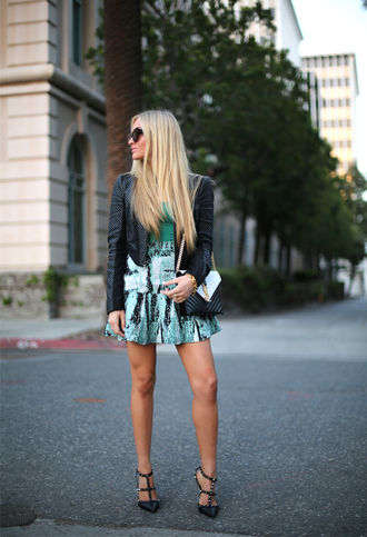 angel food t-shirt jacket skirt shoes sunglasses bag valentino rockstud green skirt mini skirt high waisted skirt green top black leather jacket leather jacket black jacket black sunglasses ysl ysl bag black and white high heels black high heels studded sandals slingbacks