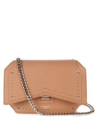 bow cross studded bag leather nude