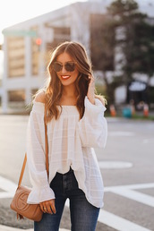 somewherelately,blogger,top,jeans,shoes,sunglasses,jewels,make-up,bag,gucci bag,blouse,spring outfits