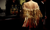 dress,jacket,gold feathers,transparent,mesh,feathers,cute dress