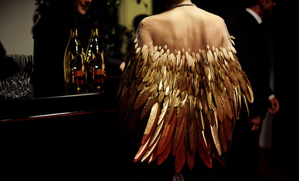 dress jacket gold feathers transparent mesh feathers cute dress