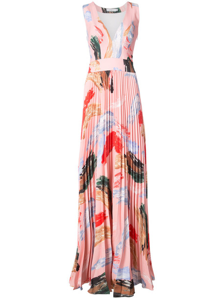 Patbo gown pleated women spandex purple pink dress