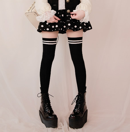 c004eb16f9a Sweet Mock Thigh High Tights with Striped Top