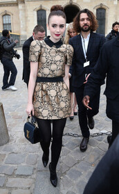 dress,old,lily collins,gold,cute dress,baroque,flowers
