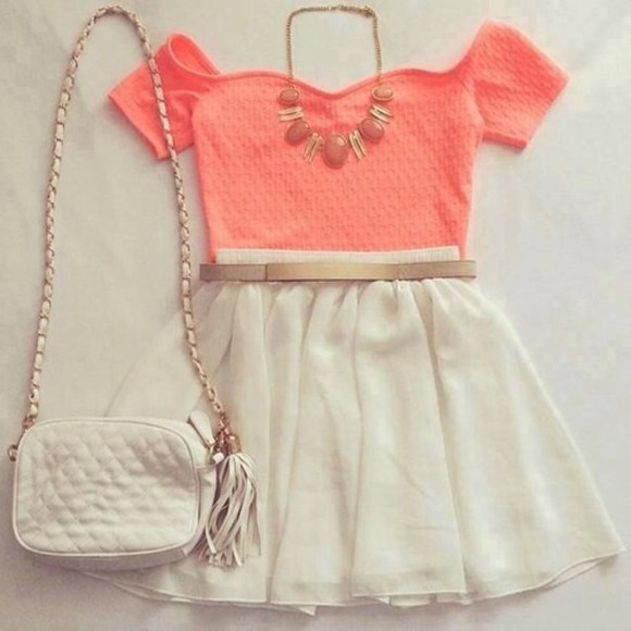 white skirt top peach crop top white purse skirt dress glam beauty fashion high heels outfit swag stylisch vag bag jewels t-shirt shirt croptopwithskirt blouse white cute Belt style crop tops pink peach shoulder bag nude