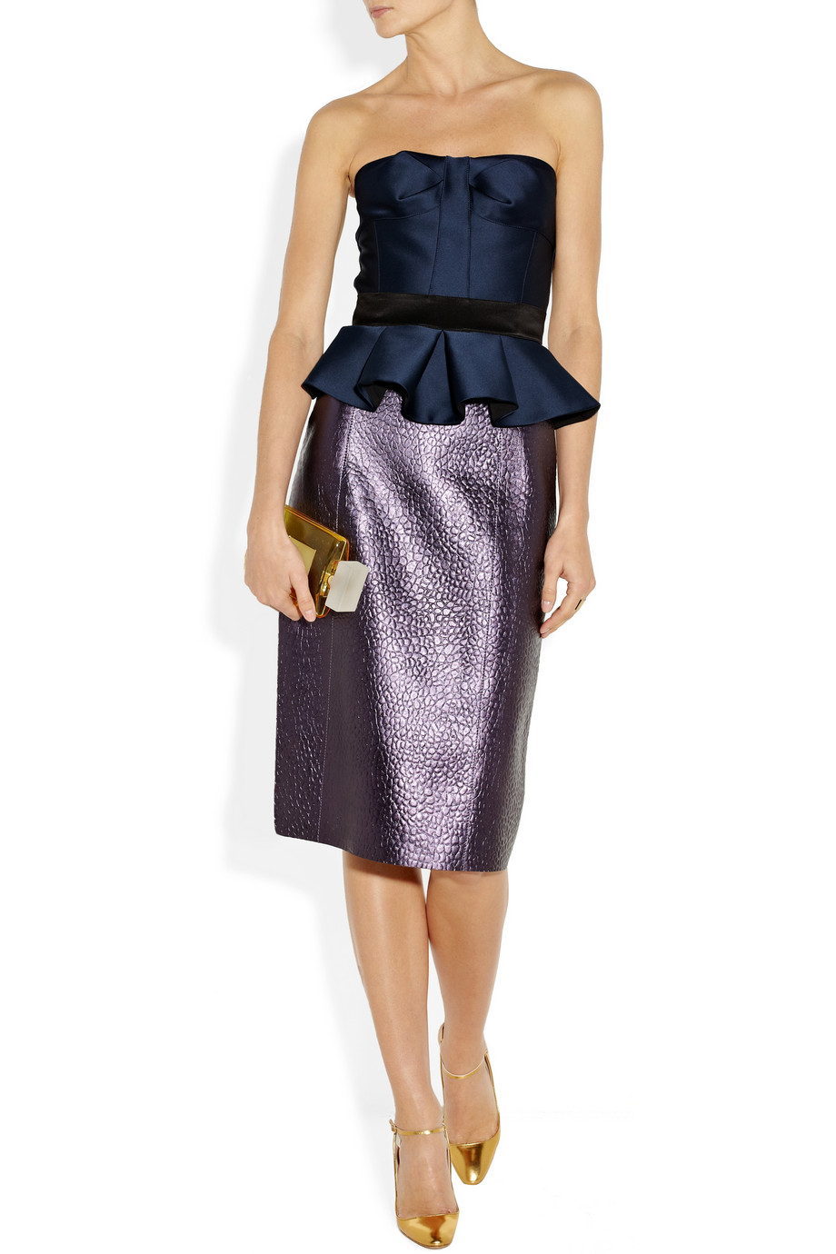Burberry Prorsum Metallic textured-leather pencil skirt – 60% at THE OUTNET.COM