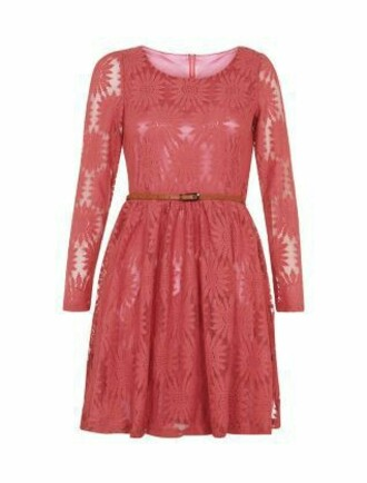 dress coral dress coral belt lace summer long sleeves