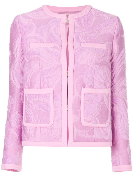 jacket cropped women jacquard cotton purple pink