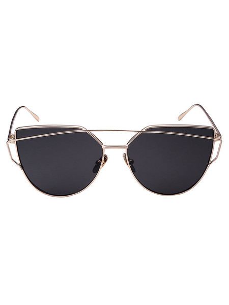 3ce8975ebcb0 Golden Double High Bar Cat Eye Sunglasses