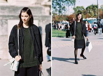 vanessa jackman blogger jacket skirt sweater shoes tights