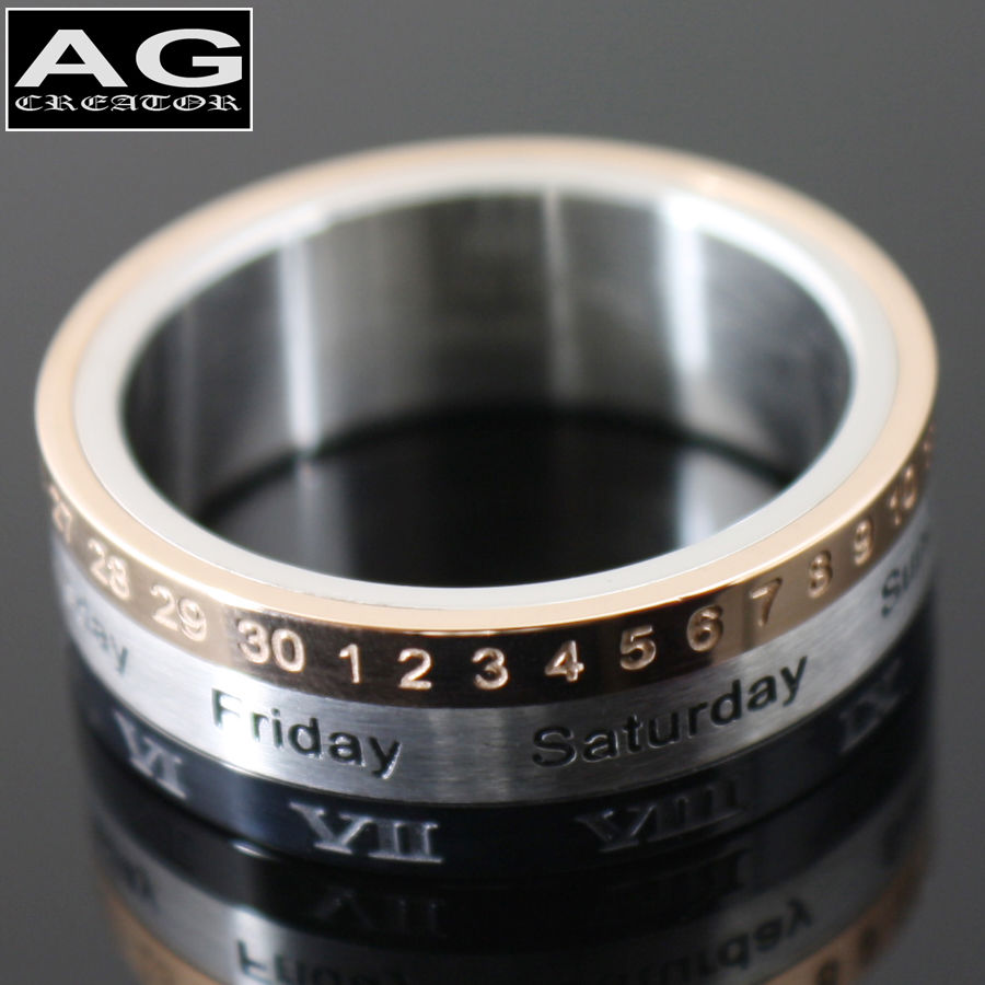 Roman Numeral Calendar Month Day Spin Ring Stainless Steel Size 9   eBay