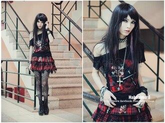 shirt gothic gothic lolita black black dress punk cross socks red dress