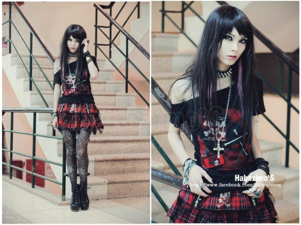 shirt, goth, gothic lolita, black, black dress, punk ...