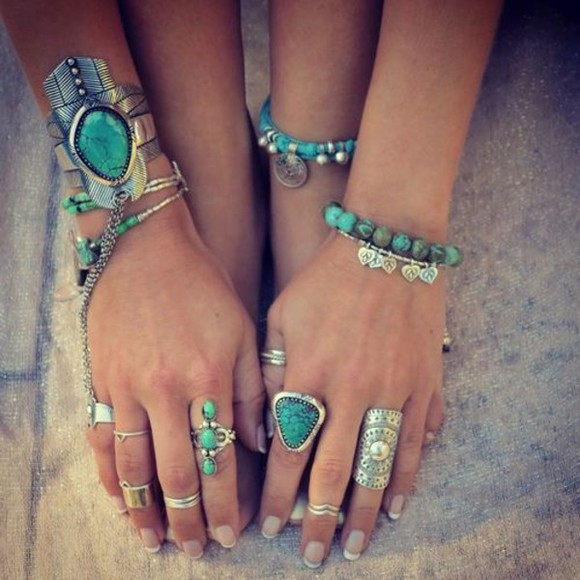 jewels boho hippie style bohem gypsy hipster girly green turquoise hand jewelry accessories amazing cool ring nice