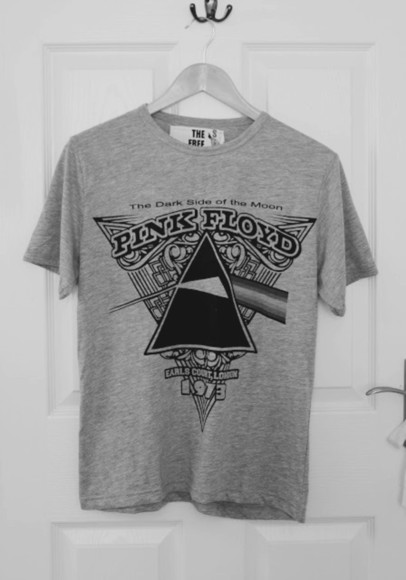 grey t-shirt pink floyd shirt pink floyd triangle moon darkside rainbow colors