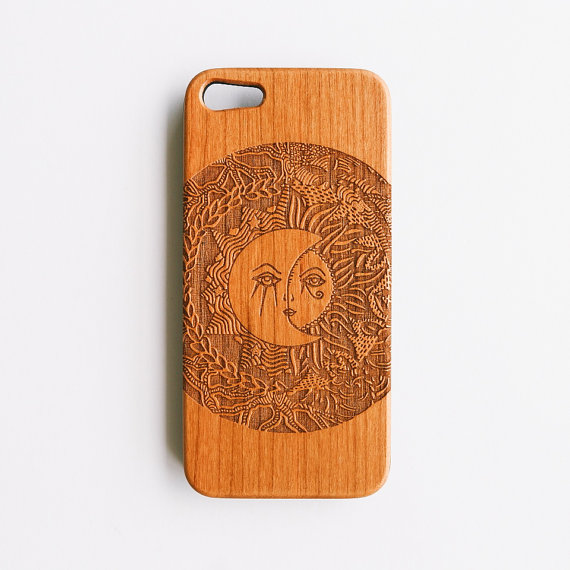 Artisanal Engraved Madame Sunnymoon Cherry Wood Iphone by SVNTY