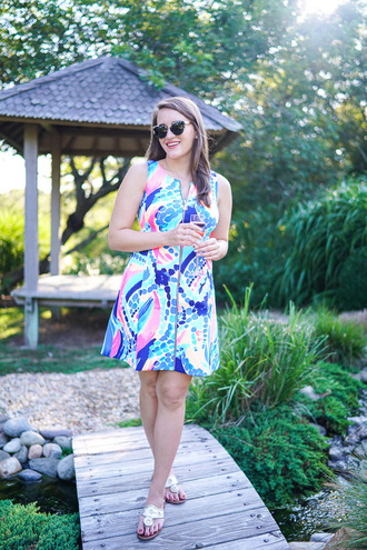 covering bases blogger dress shoes sunglasses silver sandals slide shoes printed dress blue dress cat eye black sunglasses zipper dress zipped dress summer dress