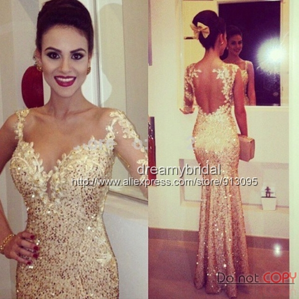 Aliexpress.com : buy one shoulder sexy see through back champagne mermaid prom dresses evening gowns sexy vestidos formatura 2015 longos de renda from reliable prom dresses suppliers on suzhou dreamybridal co.,ltd
