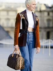 jacket,top,michelle williams,streetstyle,Paris Fashion Week 2017,crop tops,fall outfits,bag
