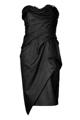 dress cocktail dress strapless draped black