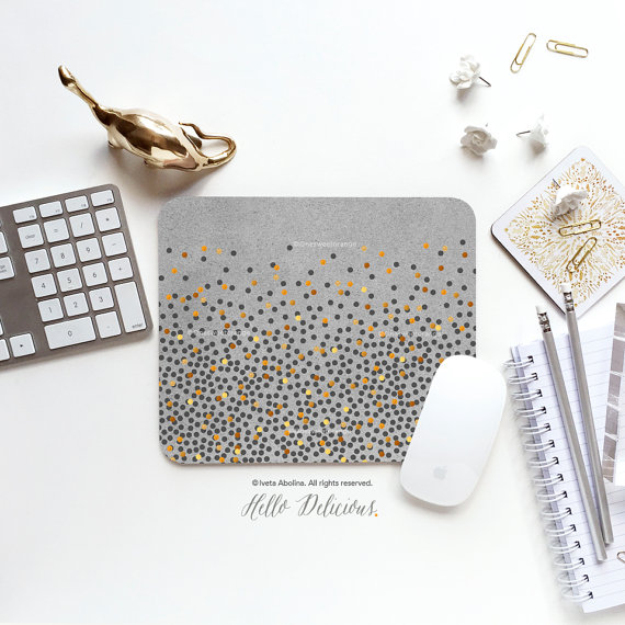 Mouse Pad Gray Mousepad Faux Gold Polka Dots Mouse Mat Polka Mouse Pad Office Mousemat Rectangular Mousemat Print Mousepad Round I196