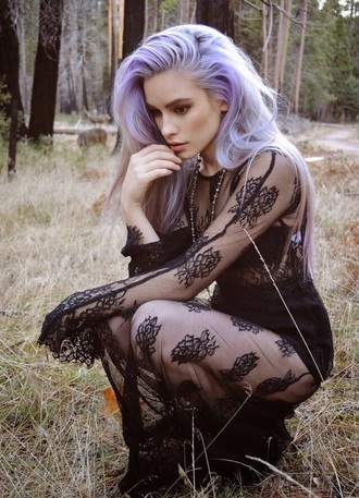 dress black dress boho dress purple purple hair grunge boho