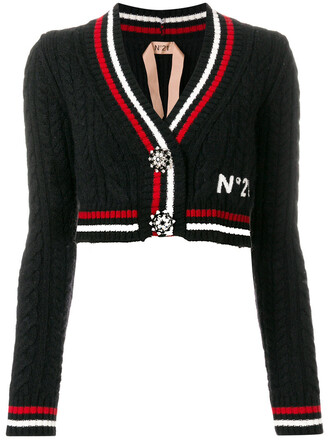cardigan cropped women mohair cotton black wool knit sweater