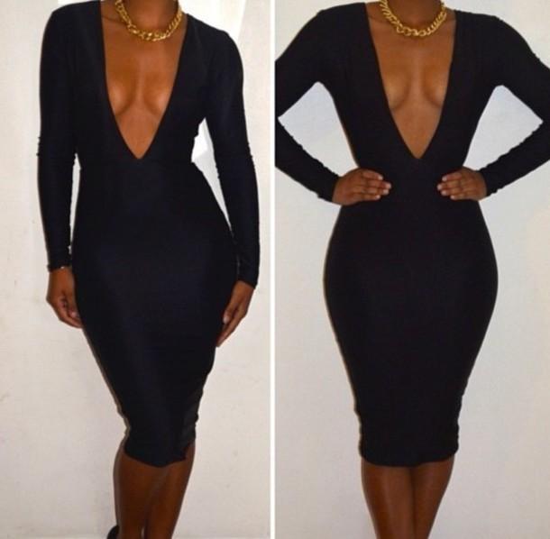 Double deep v neck bodycon dress