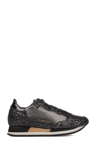 metallic sneakers leather black shoes