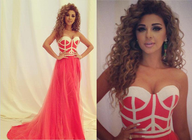 2014 arabia singer myriam fare red sweetheart ruched fashion gowns celebrity dresses