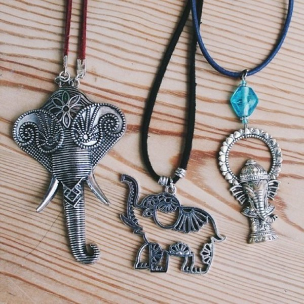 jewels necklace elephant elephant tribal pattern aztec silver jewelry