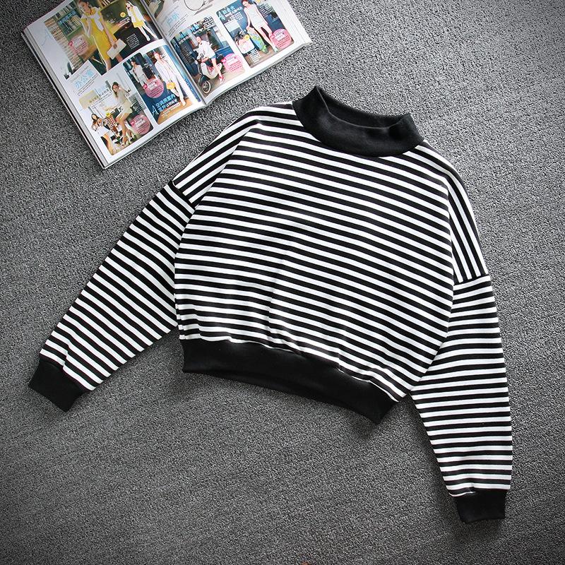 2014 new fashion women harajuku black white striped casual pullover turtleneck sweatershirt hoodies chandal mujer crop top m l