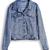 Blue Lapel Long Sleeve Rivet Crop Denim Jacket - Sheinside.com