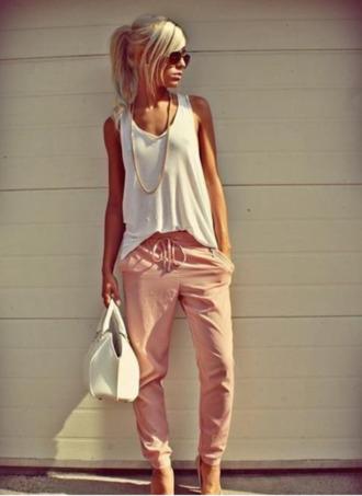 pants pink pants white top