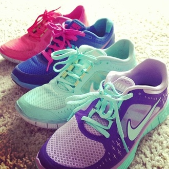 shoes nike purple blue running shoes nike sneakers sneakers sportswear mint multicolor nike free run beautiful nike shoes