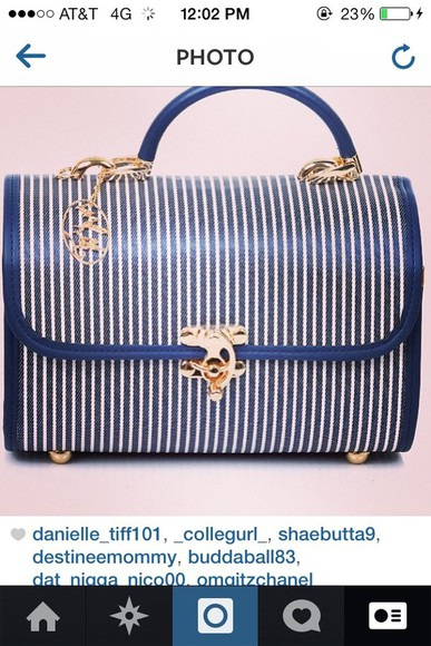 blue and white striped bag vintage purse love it find it please ,