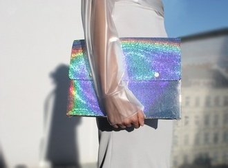 bag holographic holo clutch envelope clutch metallic clutch silver clutch