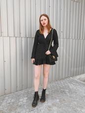 shoes,boots,black boots,dr martens boots,dress,polka dots,black dress,v neck dress,bag