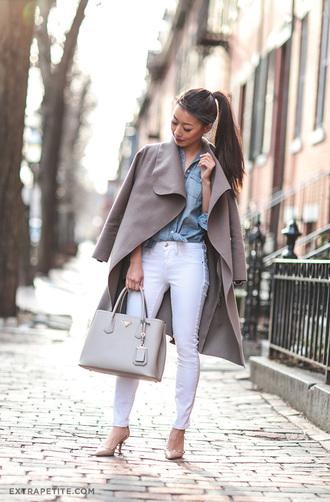 extra petite blogger jewels denim shirt white jeans grey coat grey bag nude heels