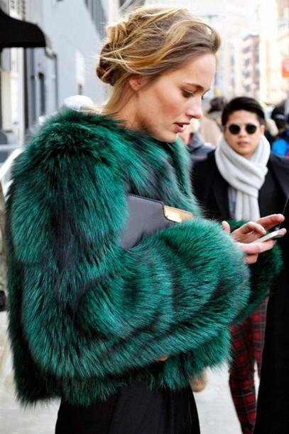 jacket green fur jacket