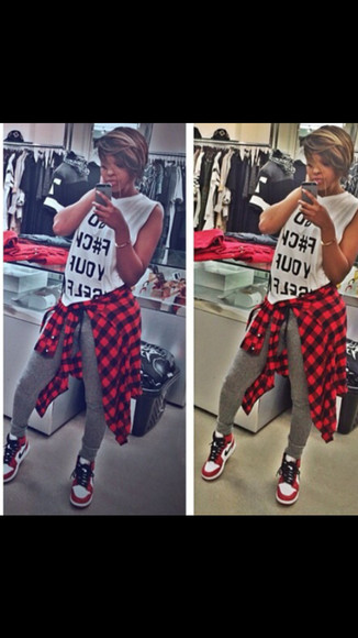 nike sneakers urban street style street fashion leggings red plaid shirt instafashion blackbarbie