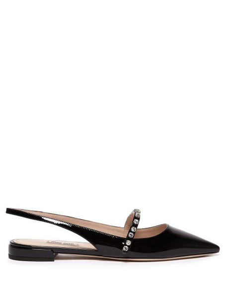 Miu Miu - Crystal Embellished Patent Leather Flats - Womens - Black