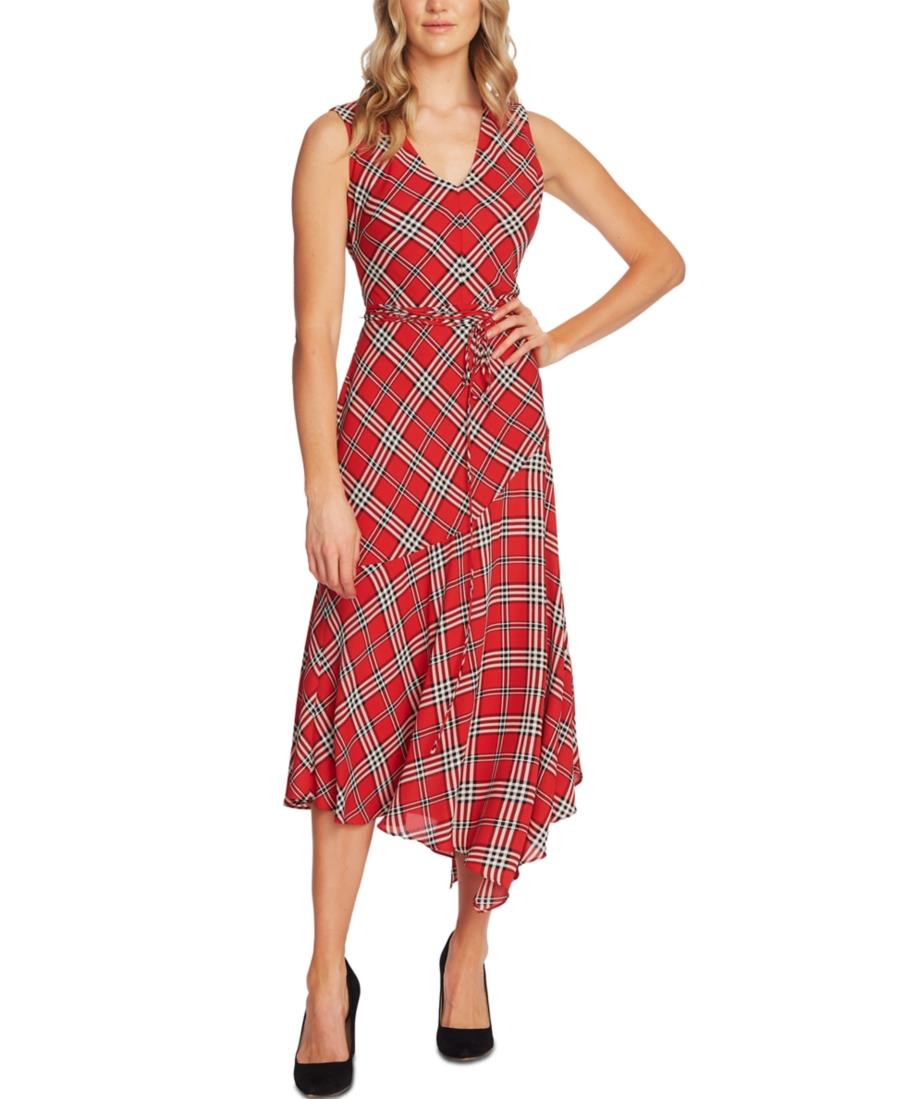 Vince Camuto Sleeveless Plaid Maxi Dress