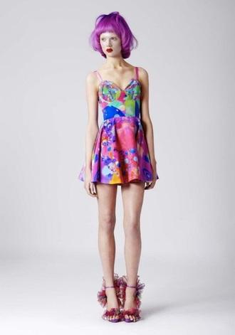 dress fashion grunge style soft grunge rainbow bustier dress bustier