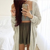 skirt,high waisted skirt,bustier,grey,cardigan,beige,creme,beige cardigan,phone cover,gold,shirt,shorts,top,green,crop tops,cute,outfit,cute top