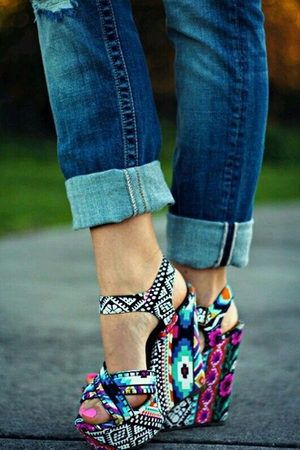 shoes tribal pattern colorful shoes wedges summer shoes